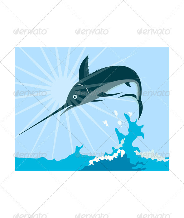 GraphicRiver Blue Marlin Fish Jumping Retro 3435482