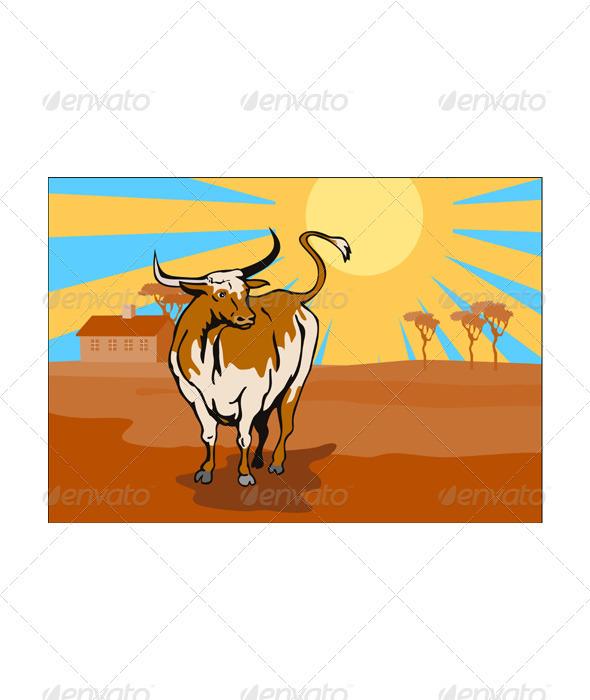GraphicRiver Raging Bull Attacking Retro 3435491