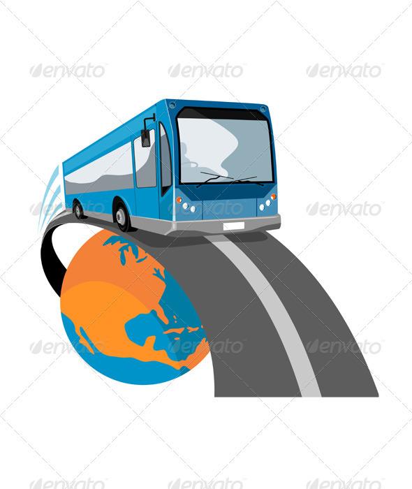 GraphicRiver Shuttle Coach Bus Retro 3435494