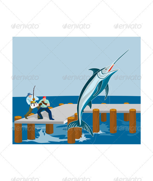GraphicRiver Blue Marlin Fish Jumping Retro 3435497