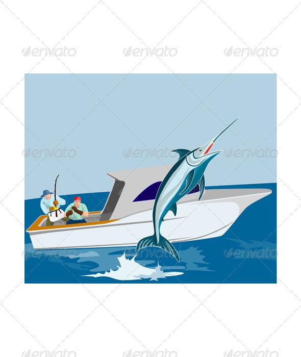 GraphicRiver Blue Marlin Fish Jumping Retro 3435501