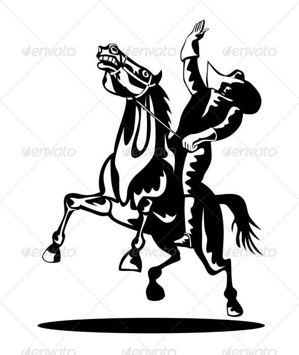 GraphicRiver Rodeo Cowboy Riding Bucking Bronco Horse 3435509