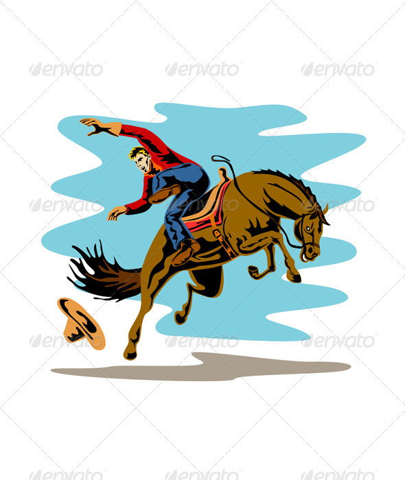 GraphicRiver Rodeo Cowboy Riding Bucking Bronco Horse 3435515