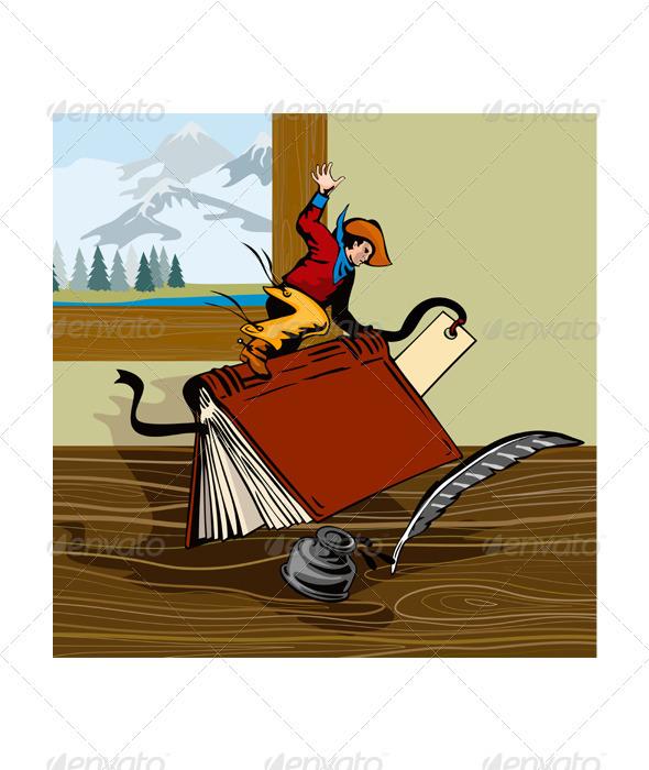 GraphicRiver Rodeo Cowboy Riding Book Retro 3435518
