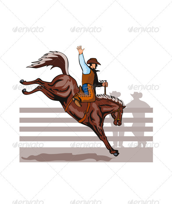GraphicRiver Rodeo Cowboy Riding Bucking Bronco Horse 3435519