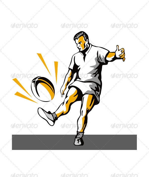 GraphicRiver Rugby Player Kicking Ball Retro 3435520