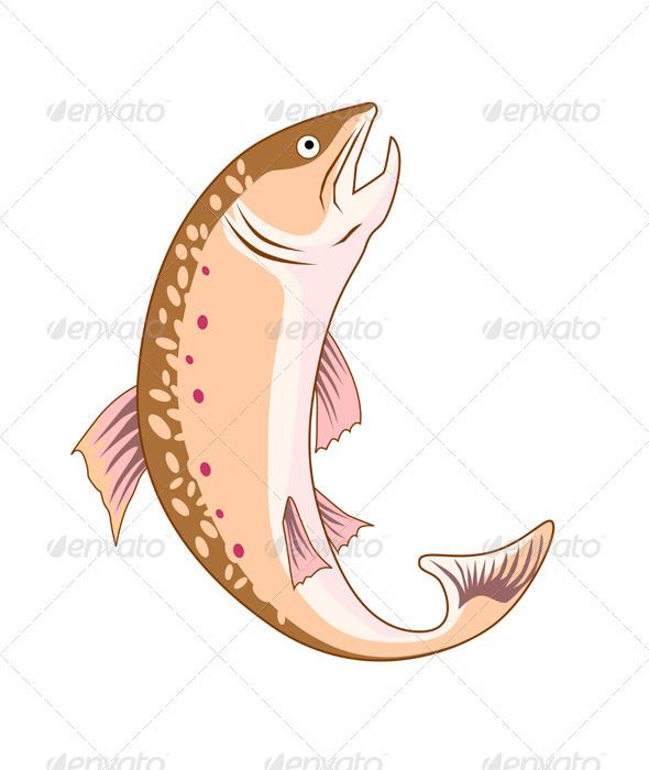 GraphicRiver Trout Fish Retro 3435558