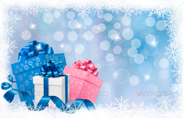 GraphicRiver Christmas background with gift boxes and ribbons 3435592