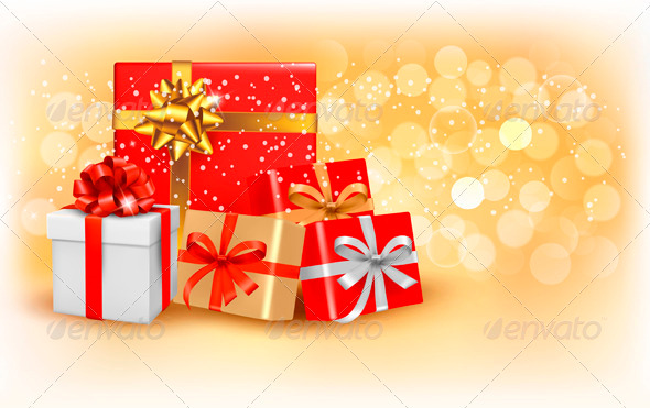 GraphicRiver Christmas gold background with gift boxes 3435616