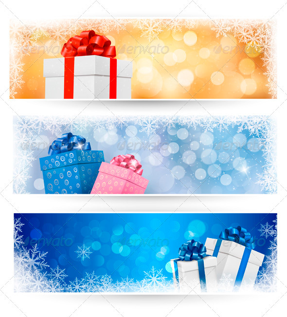 GraphicRiver Set of winter christmas banners illustration 3435658