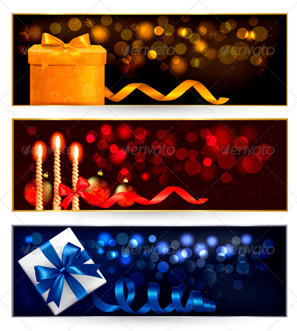 GraphicRiver Set of winter christmas banners with gift boxes 3435662