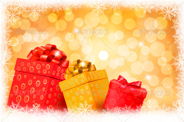 GraphicRiver Christmas gold background with gift color boxes 3435666