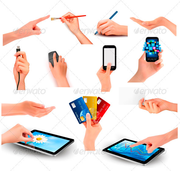 GraphicRiver Set of hands holding different business objects 3435670