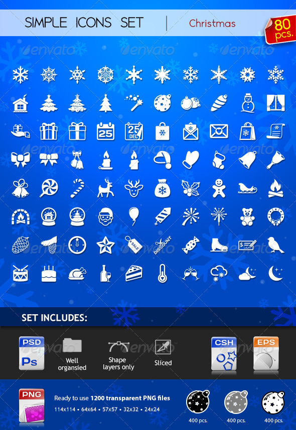 GraphicRiver 80 Simple Icons Christmas 3435968