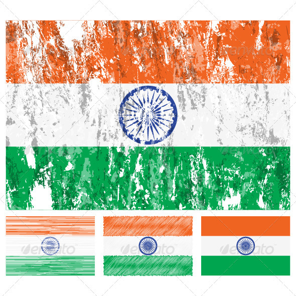 GraphicRiver India grunge flag set 3436195