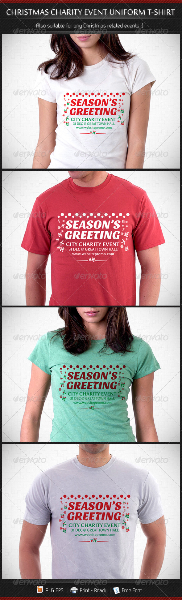 Christmas Charity Event Uniform T-Shirt Template - Events T-Shirts