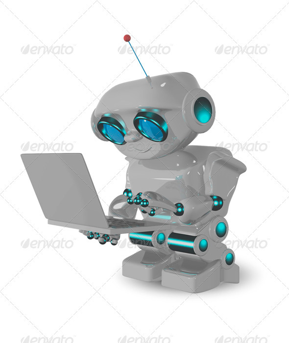 GraphicRiver Robot and Laptop 3437308