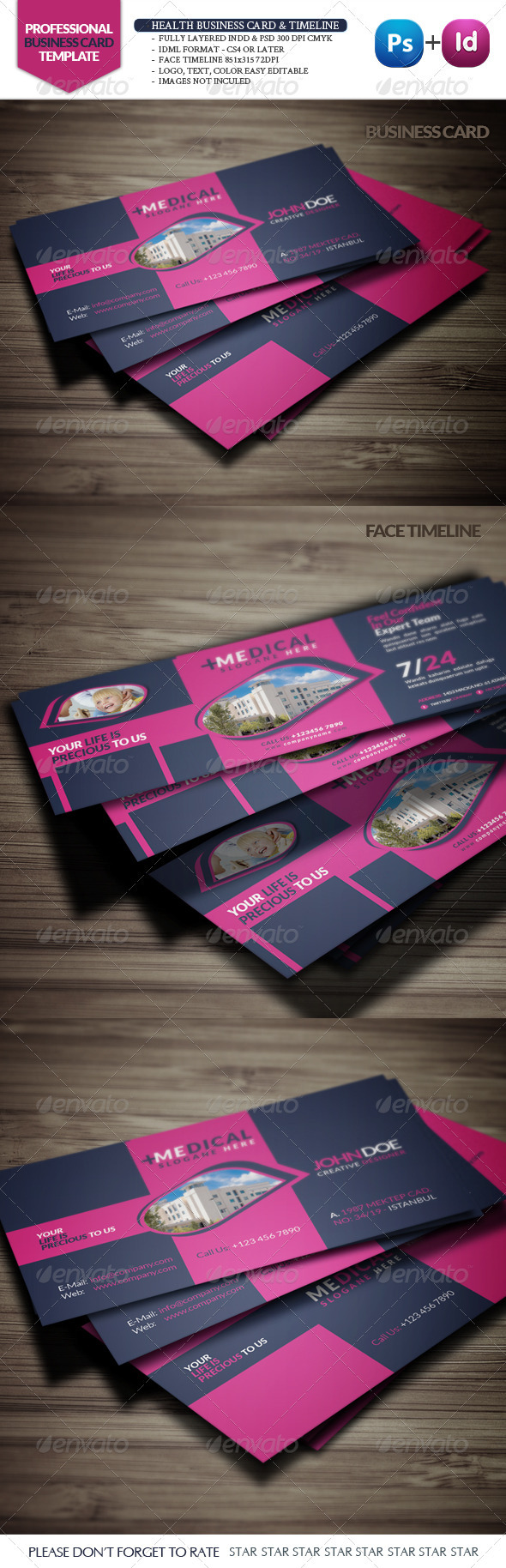 GraphicRiver Health Business Card & Face Timeline 3437415