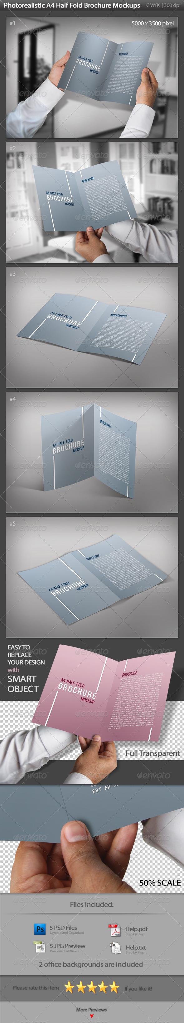 GraphicRiver A4 Half Fold Brochure Mockups 3437424