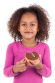 Little African Asian girl eating a chocolate cake - PhotoDune Item for Sale