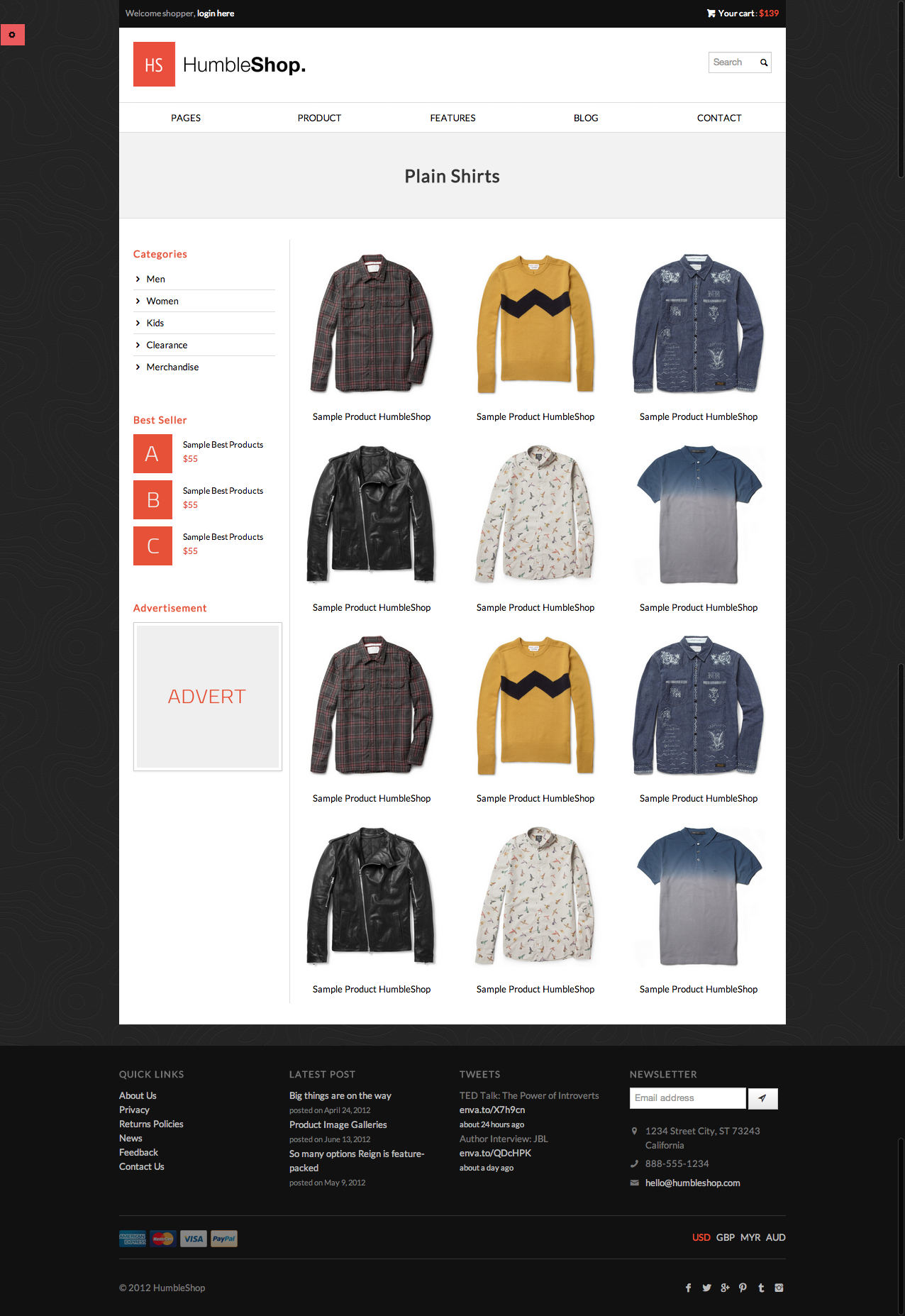 HumbleShop - Minimal Responsive eCommerce Template