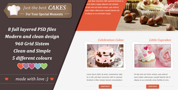 ThemeForest Just Cakes PSD Theme 3362254