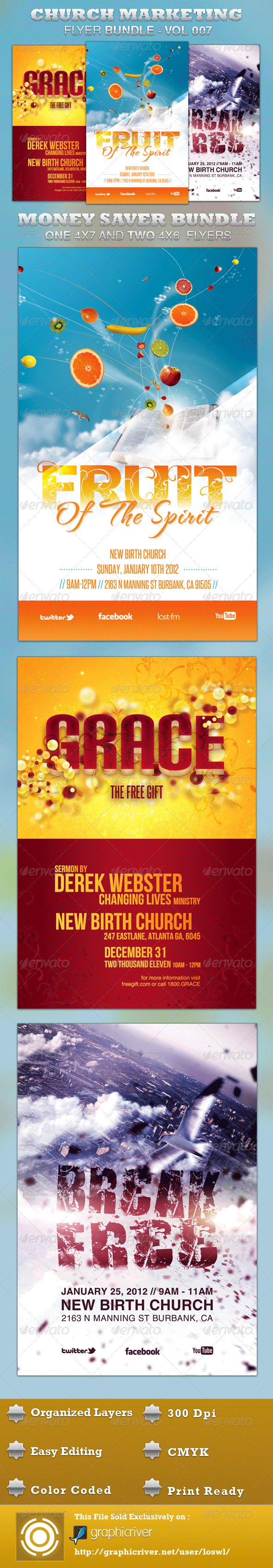 GraphicRiver Church Marketing Flyer Bundle-Vol 007 3439482