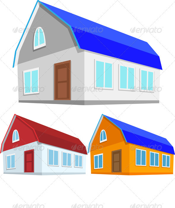 GraphicRiver Vector Set of Colored Houses 3406981