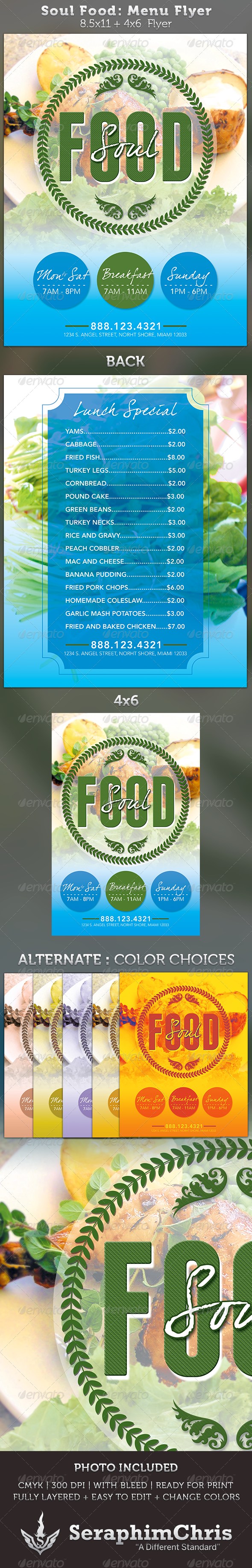 GraphicRiver Soul Food Menu Flyer Template 3441566