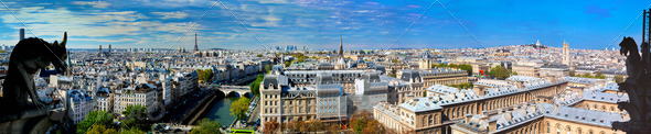 Paris panorama, France. Eiffel Tower, Seine river - Stock Photo - Images