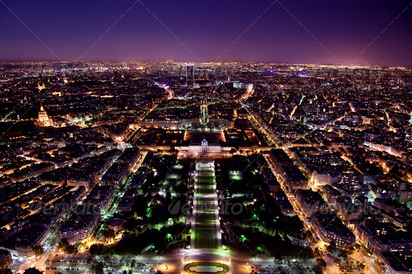 Paris panorama, France at night. - Stock Photo - Images