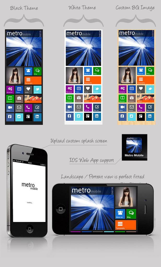 Metro Mobile Premium HTML Mobile Template
