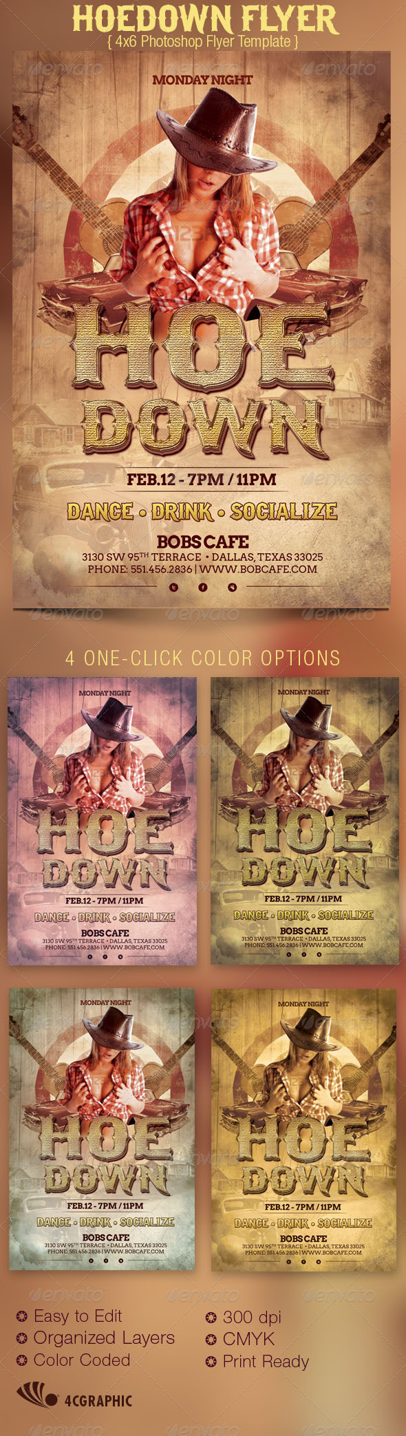 GraphicRiver Hoedown Country Flyer Template 3442895