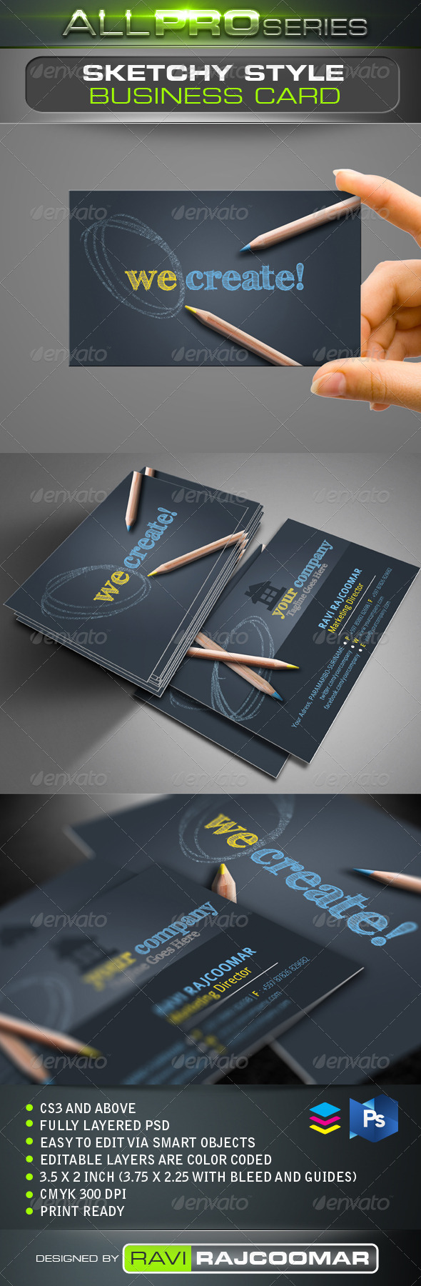 GraphicRiver Sketchy Style Business Card 3442904