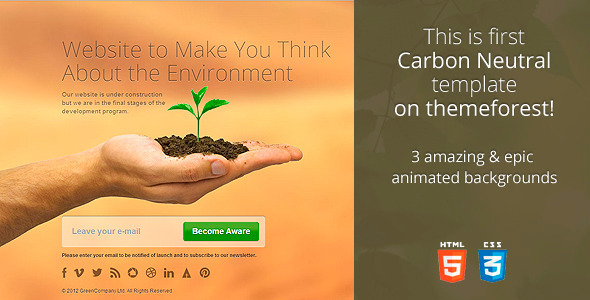 ThemeForest CarbonNeutral HTML5 Coming Soon Template 3434644