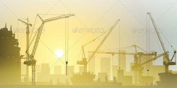 GraphicRiver Tower Cranes 3412113
