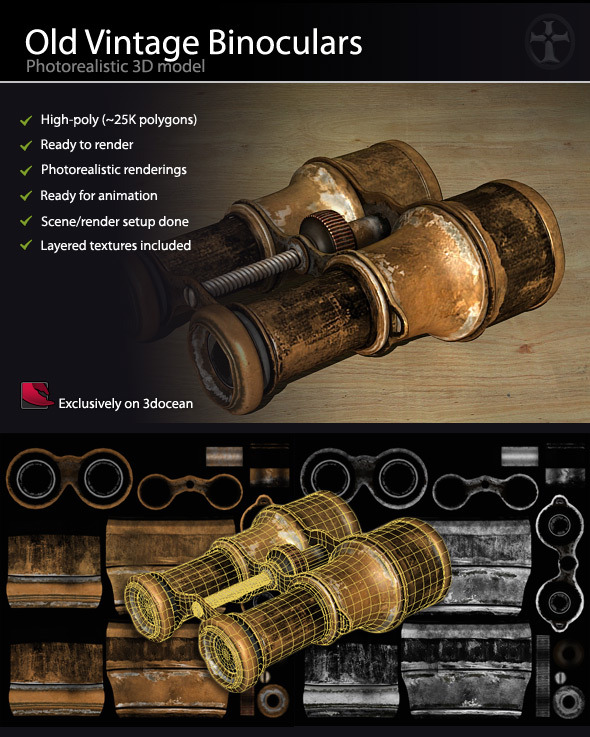 Old Vintage Binoculars - High Poly - 3DOcean Item for Sale