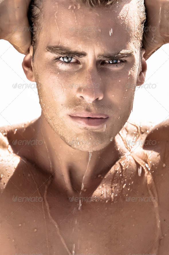 Boy in the Shower - Stock Photo - Images