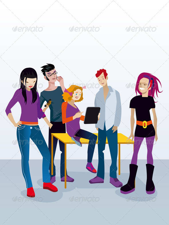 GraphicRiver Students with Digital Tablet 3444812