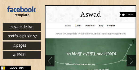 ThemeForest Aswad Facebook Template 3437580