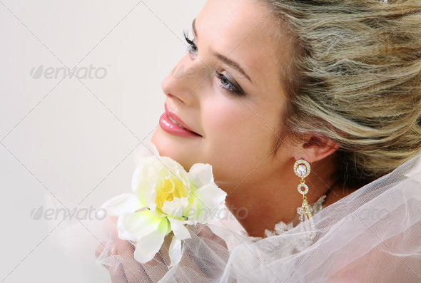 Bride with orchid - Stock Photo - Images