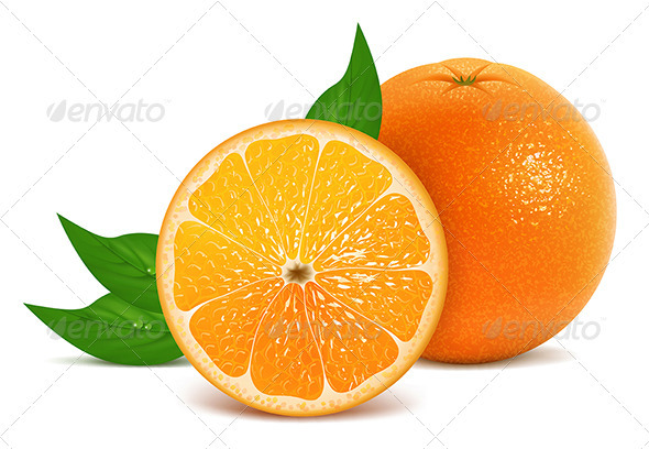 GraphicRiver Fresh oranges with leaves 3446015