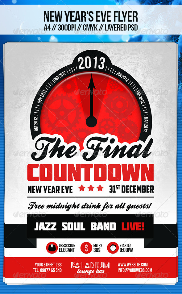 Retro New Year s Eve Flyer Template