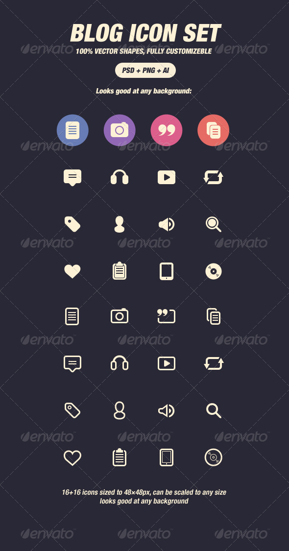GraphicRiver Glyph Icons for Blog 48px 3447133