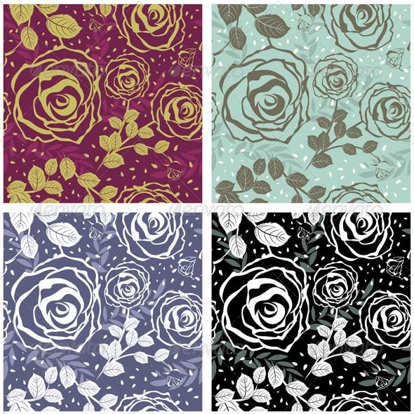 GraphicRiver Floral Seamless Pattern Set 3447630