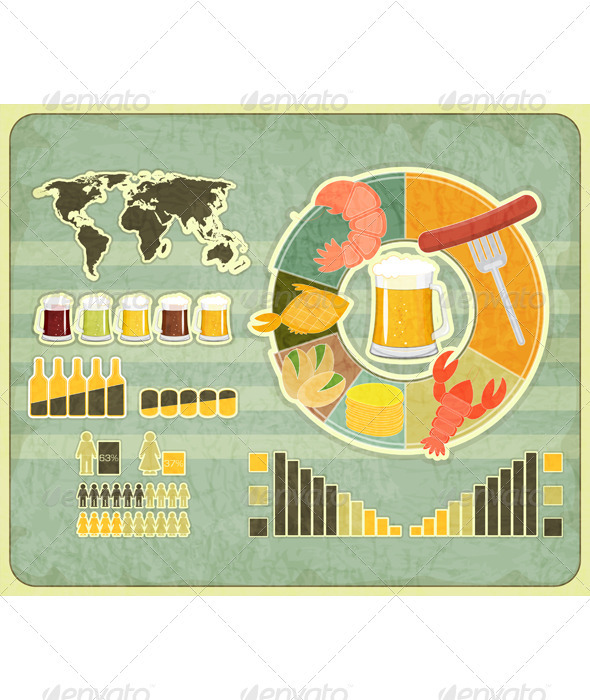 GraphicRiver Retro Infographics Design Beer icons Snack 3447631