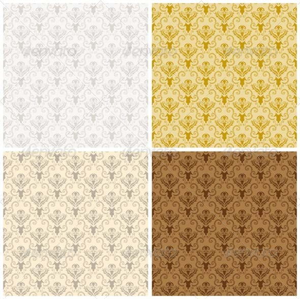GraphicRiver Damask Seamless Pattern Set 3447702