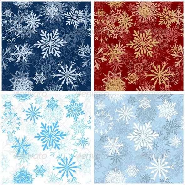 GraphicRiver Snowflake Seamless Pattern Set 3447708