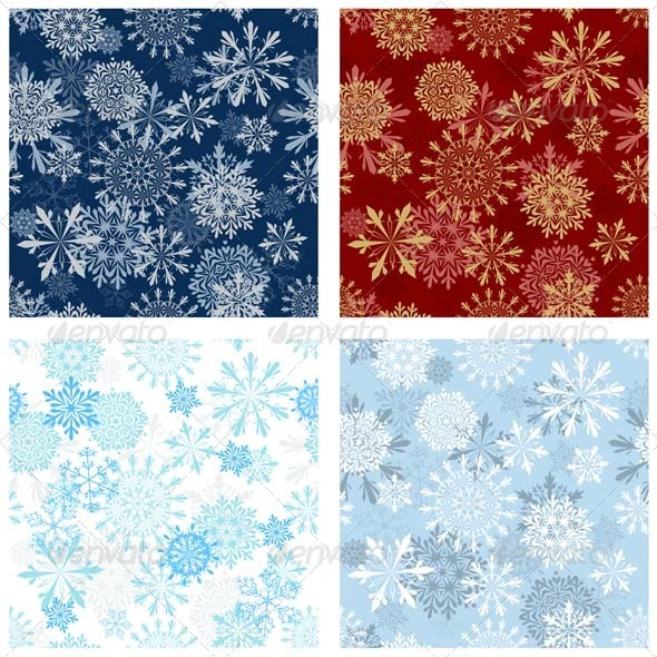 GraphicRiver Snowflake Seamless Pattern Set 3447710