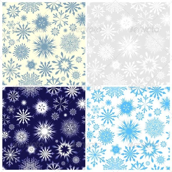 GraphicRiver Snowflake Seamless Pattern Set 3447720